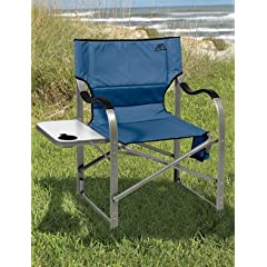 Alps Extra-Wide Folding Aluminum Camp Chair With Flip Side Table by Living XL