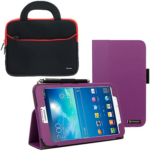 Evecase Auto Sleep/Wake Purple SlimBook Leather Folio Stand Case with Handle Bag for Samsung Galaxy Tab 3 8.0 - 8 inch Tablet (SM-T3100 / SM-T3110, Wifi / 3G, 4G LTE)