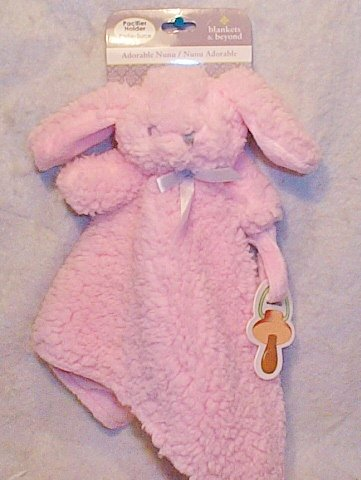 Blankets & Beyond Fuzzy Pink Bunny Security Blanket With Pacifier Holder