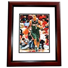 Brandon Jennings Autographed Hand Signed 11x14 Milwaukee Bucks Photo MAHOGANY CUSTOM... by Real Deal Memorabilia
