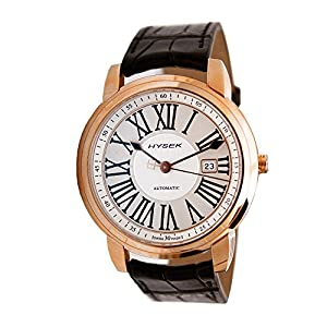 Hysek IO IO4301r02 43mm Automatic Rose Gold Case Black Calfskin Anti-Reflective Sapphire Men's Watch