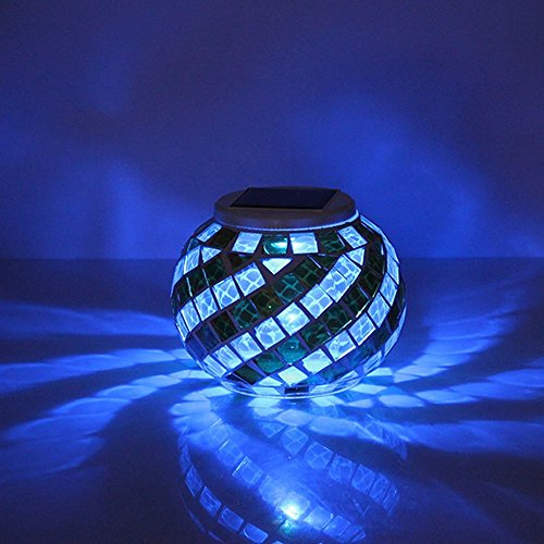 Samyo Solar Powered Mosaic Color Changing Garden Rechargeable LED Flameless Light Lamp for Indoor or Outdoor Decorations Party Patio Lawn Garden Waterproof HLG-01