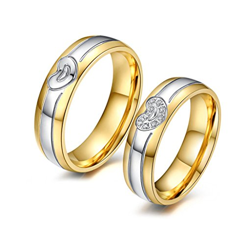 ROWAG Mens Heart Shaped Gold Plated Stainless Steel Couple Rings for Him and Her Womens Cubic Zirconia CZ Wedding Promise Engagement Bands