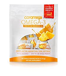 Coromega Omega-3 Squeeze with Vitamin D3, Tropical Orange, 120 Count(Packaging may vary)