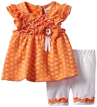 Little Lass Baby-girls Infant 2 Piece Bermuda Short Set, Orange, 6/9 Months