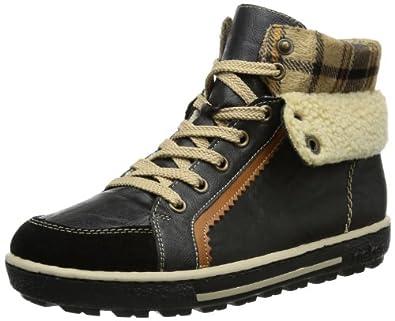 Rieker Z8730-00, Damen Hohe Sneakers, Schwarz (schwarz/schwarz/nuss/beige/beige-braun / 00), 36 EU (3.5 Damen UK)
