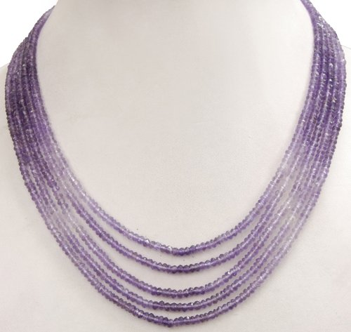 Fashionable 5 Strands Natural Beautiful Shaded Amethyst Beaded Necklace
