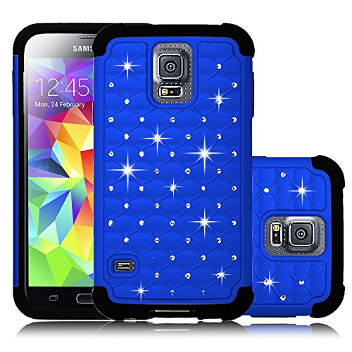 Galaxy S5 Case, HengTech (TM) Diamond Studded Bling Crystal Rhinestone Dual Layer Hybrid Cover Silicone Rubber Hard Case For Samsung Galaxy S5 I9600 (Verizon, AT&T Sprint, T-mobile) (Royal Blue) (Tmobile Samsung Galaxy S5 Case compare prices)