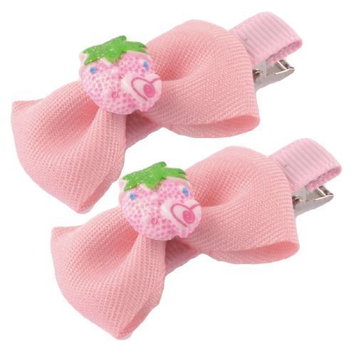 Rose Pâle Nœud Papillon Décor Printemps Loded Canard Pince Cheveux 2pcs