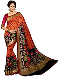 Sarees (Sarees Creation Women's Designer Latest Cotton Silk Party Wear Saree With Beautifull Matching Blouse)
