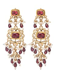 Amethyst By Rahul Popli White Gold Plated Stud Earrings - B00OYSFLYO
