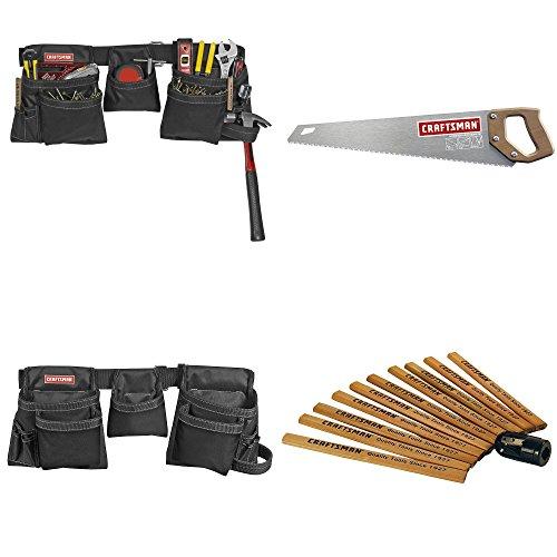 "Craftsman Carpenters Bundle PLUS - Heavy Duty Framers Tool Belt | 20"" Coarse Handsaw | Guaranteed | 10pk Flat Carpentry"