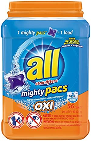All Mighty Pacs Laundry Detergent, Stainlifter OXI, Tub, 56 Count