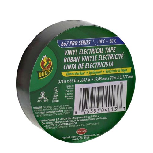 Duck Brand 667 3/4-Inch-by-66-Feet-by-0.007-Inch Vinyl Electrical Tape, Black