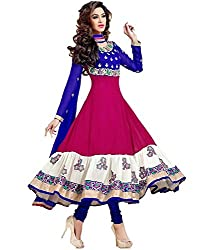 Galaxy Women's Pink & Blue Multicolour Georgette Anarkali Type Unstitched Salwar Suit Dress Material (Free Size_Pink&Blue)