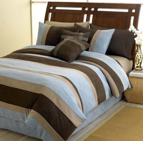 SkyBlue Jacaranda Striped Micro Suede Luxury Bed in a Bag Comforter 6 piece Bedding Set