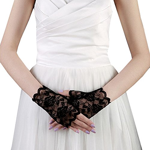 JISEN Sexy Lace Fingerless Rose Gothic Wrist wedding Party Gloves Black