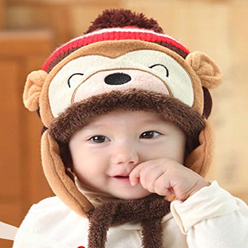 Knit Beanie Cap for Baby, Misaky Winter Warm Kids Girl Boy Ear Thick Hat (Coffee)