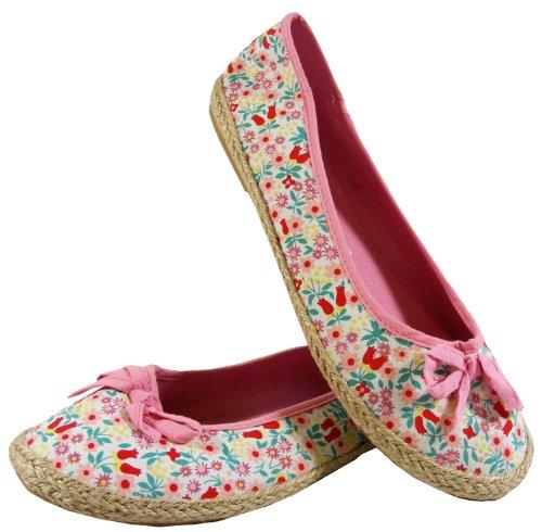 New Womens Floral Flat Ballerina Dolly Ballarinas Ballet Pumps Shoes Sz Size 3 4