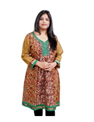 Viniyog Women Hand Block Printed Kalamkari Cotton Kurti