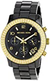 Michael Kors Womens MK5270 Black Ceramic Runway Gold Glitz Watch