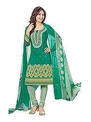 RK Fashion Womens Chiffon Un-Stitched Salwar Suit Dupatta Material ( Rajguru-Rimzim-9048-Green-Free Size )