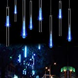 SurLight LED Falling Rain Lights with 30cm 8 Tube 144 LEDs - Meteor Shower Light - Falling Rain Drop Christmas Lights - Icicle String Lights for Holiday Party Wedding Christmas Tree Decoration (Blue)
