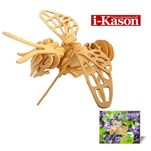 Authentic High Quality i-Kason® New Favorable Imaginative DIY 3D Simulation Model Wooden Puzzle Kit for Children and Adults Artistic Wooden Toys for Children - Small Bee