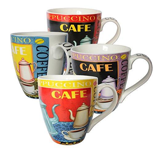 Set Of Four (4) Assorted Cafe Coffee Pot Design 16 Oz Coffee Mugs Ig13172 [A-To-Z Deals]