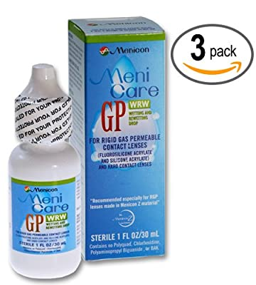 Menicon MeniCare GP WRW Wetting and Rewetting Drops 1 fl oz (30 ml)-Three bottles
