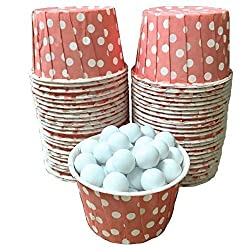 Outside the Box Papers Light Coral Polka Dot Candy Nut Cups Mini Cupcake Ice Cream Cups Birthday 48 Ct.