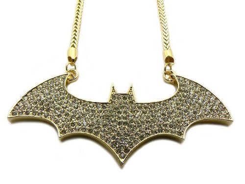 : Iced Out Batman Hip Hop Pendant w/Gold Franco Chain