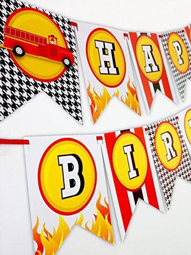 Fireman Party Happy Birthday Banner (Fire Engine Party Supplies compare prices)