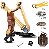 Professional Slingshot YZXLI Stainless Steel Outdoor Hunting Sling Shot High Velocity Catapult with 2 Rubber Bands and 200 Extra Slingshot Ammo (Color: Wood grain)