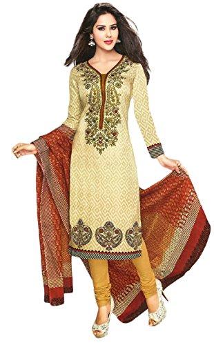 Jevi Prints Beige Unstitched Cotton Printed Punjabi Suit Dupatta