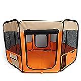 amzdeal® Welpenlaufstall Hundebox faltbare Orange (37 x 37 x 92cm)