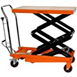"""Bolton Tools New Hydraulic Foot Operated Double Scissor Lift Table Cart Hand Truck - 770 LB of Capacity - 51.2"""" Max Height - Model TF35"""