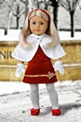Happy Holidays - Red velvet sparkling holiday party dress with white tights, red sparkling shoes and decorative head band (Cape and Mittens sold separately) - American Girl Doll Clothes