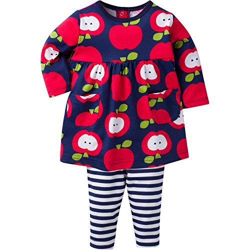 Gerber Girls' Dress and Legging Set, Apple, 12 Months