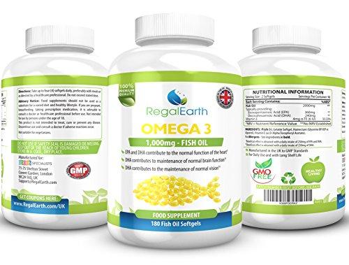 Omega 3 olio di pesce complessi 180 Softgels per uomo e donna - DHA EPA acidi grassi Formula per sostenere articolazioni, cuore e cervello - del sistema immunitario, le ossa, migliorare la memoria, regolare il colesterolo, i livelli di trigliceridi - garanzia di rimborso - 90 capsule - Made in UK