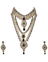 Lucky Jewellery Purple And Green Gold Plated Kundan Set For Women