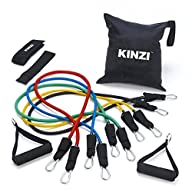 Kinzi Resistance Band Set with Door Anchor, Ankle Strap, Exercise Chart & Resistance Band Carrying…