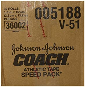 """Johnson And Johnson Consumer Coach Porous Athletic Tape 1 1/2"""" X 15 Yds. - Model 5188 - Case of 32"""