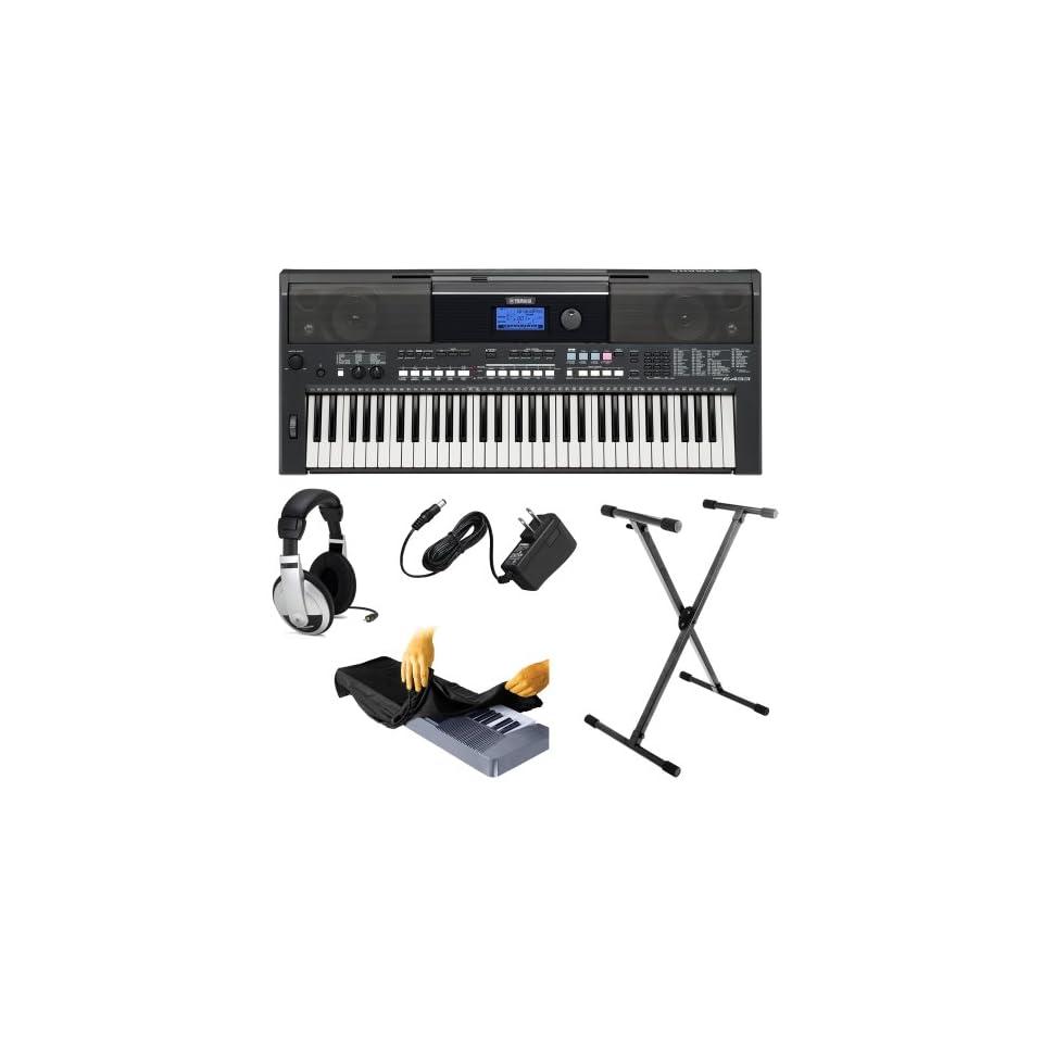 Yamaha PSR Series PSR E433 61 Key Portable Keyboard Bundle with Yamaha PA130 AC Adaptor + Samson Stereo Headphones + OnStage Stand and Dust Cover