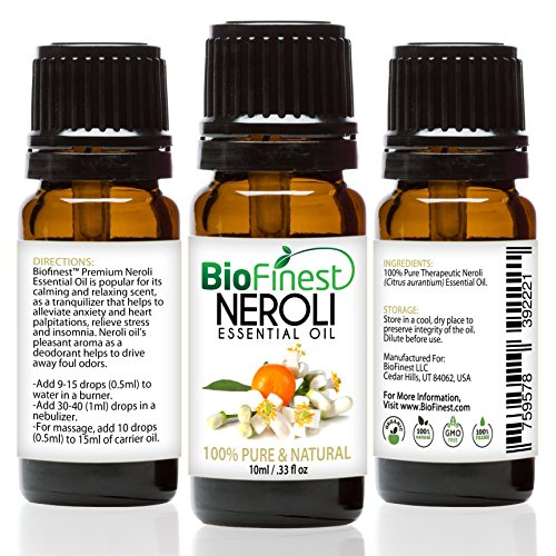 Biofinest Neroli Essential Oil - 100% Pure Undiluted - Premium Organic - Therapeutic Grade - Aromatherapy - Antioxidant - Repair Skin - Reduce Stress - FREE E-Book (10ml)