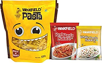 Weikfield Penne Pasta, 500g (Free Red Pasta sauce & white pasta sauce)