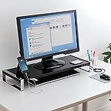 サンワダイレクト モニター台 机上台 USBポート×6 【前面USBポート】 スチール製 幅65cm 100-MR100