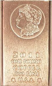 One Pound (1lb) Morgan Copper Bullion Bar .999 Fine SGS Certified