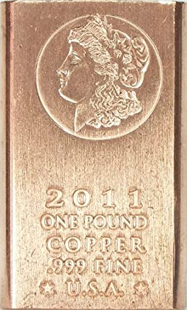 One Pound (1lb) Morgan Copper Bullion Bar .999 Fine SGS Certified