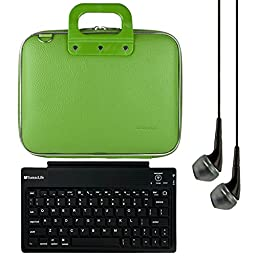 SumacLife Cady 10.1-inch Tablet Messenger Bag for Fire HD 10 with Black Headphones (Green)